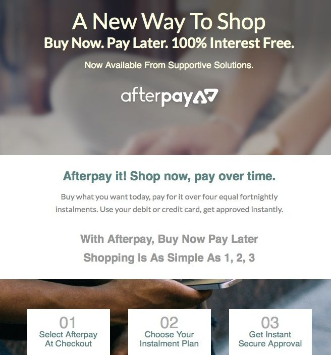 New At Our Web Store: Shop Now, Pay Later - And It's Interest Free Too! http://www.supportivepc.com #shop #afterpay