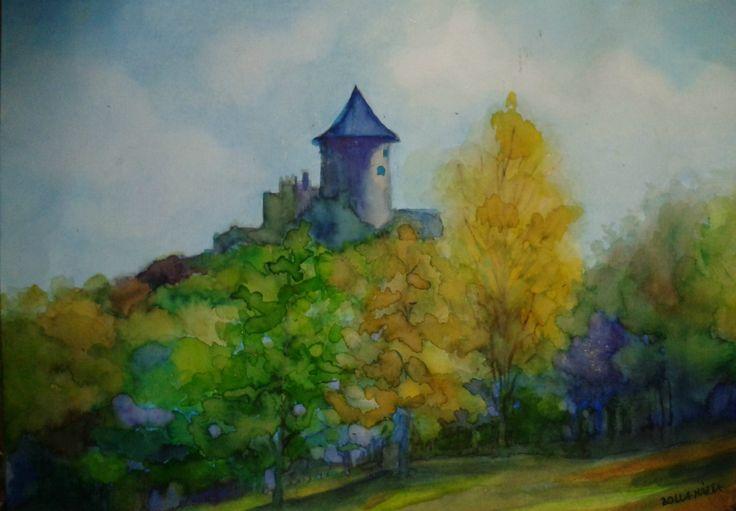 Somoskő waiting - Somoskői vár - Aquarelle - 21 x 30 cm - By Márta Bolla - Hungary
