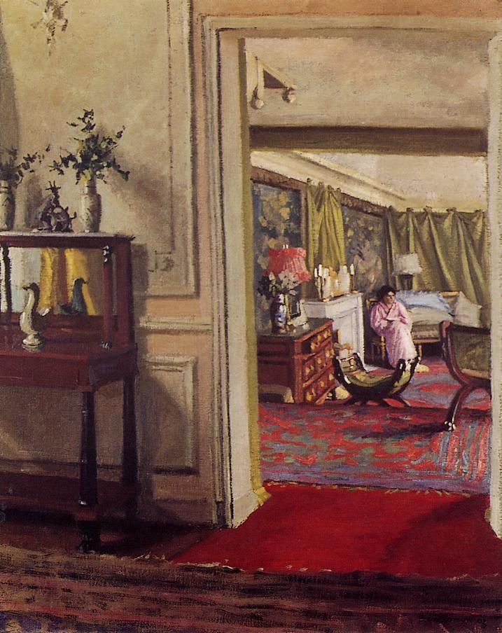 """Félix Edouard Vallotton (Swiss artist, 1865-1925) - """"Intérieur avec femme en…"""