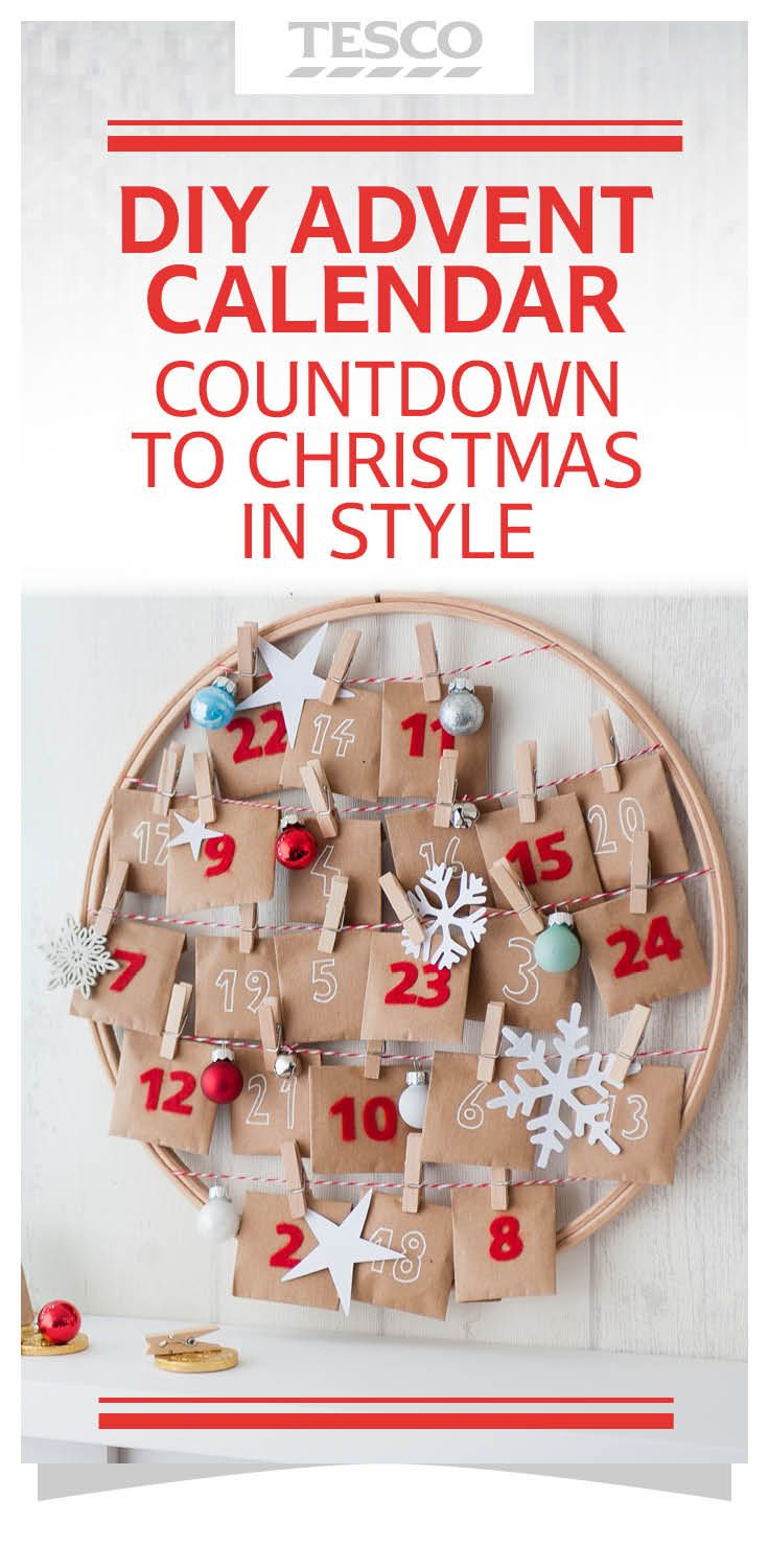 Easy-to-make DIY Christmas Advent Calendar using an embroidery hoop. It can also work on photo frames, mirrors and pinboards. It's reusable, too! | Tesco