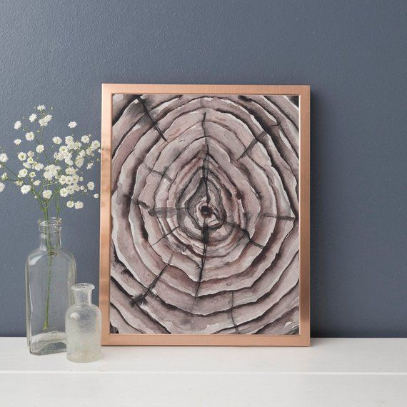 Rustic Modern Tree Rings Growth Lines Watercolor Painting Print Or Canvas Painting Wall Painting Wall Prints
