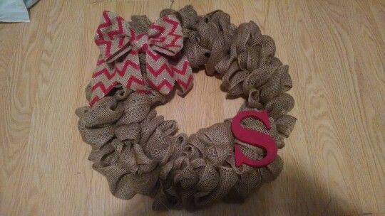 My first burlap wreath i made for a christmas gift