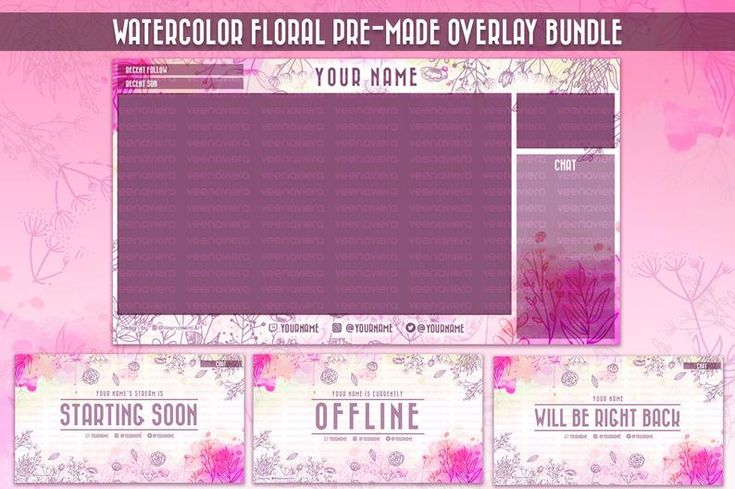 Watercolor Floral Stream Overlay Set for Twitch and