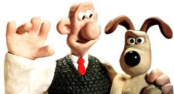 Wallace waving with his arm around a grumpy Gromit.  Bristol-based Aardman Animations created Wallace & Gromit.