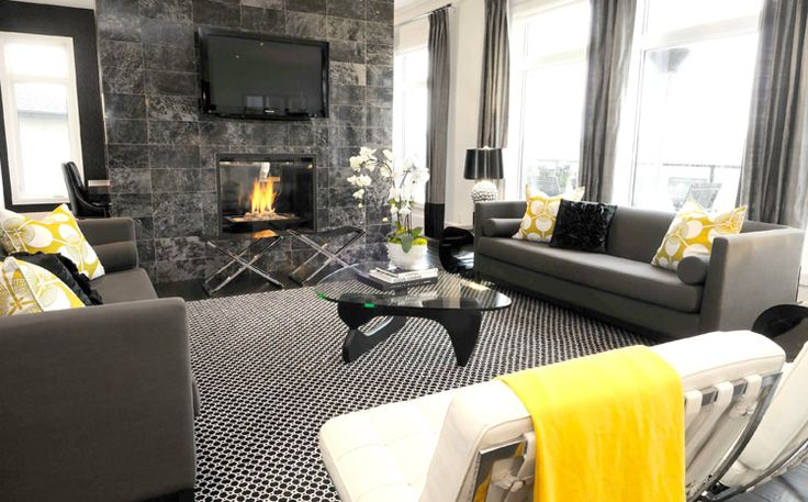 Modern living room in fresh yellow and gray