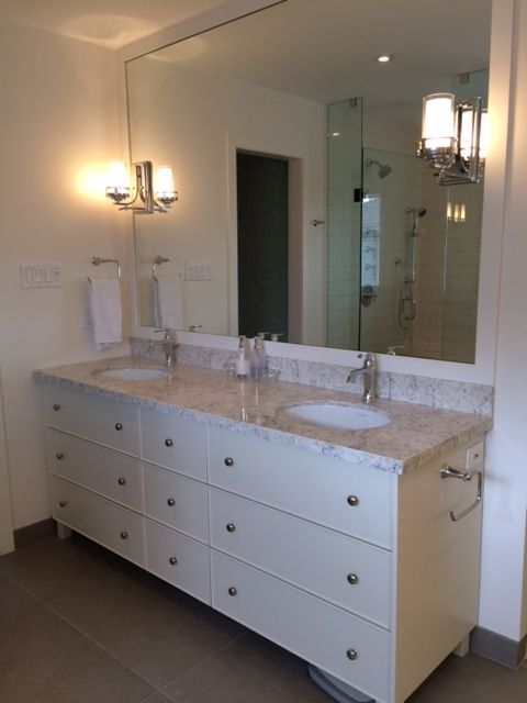 A Double #bathroom Vanity Completed In LG Viatera #quartz, Aria.  #BathroomDesign