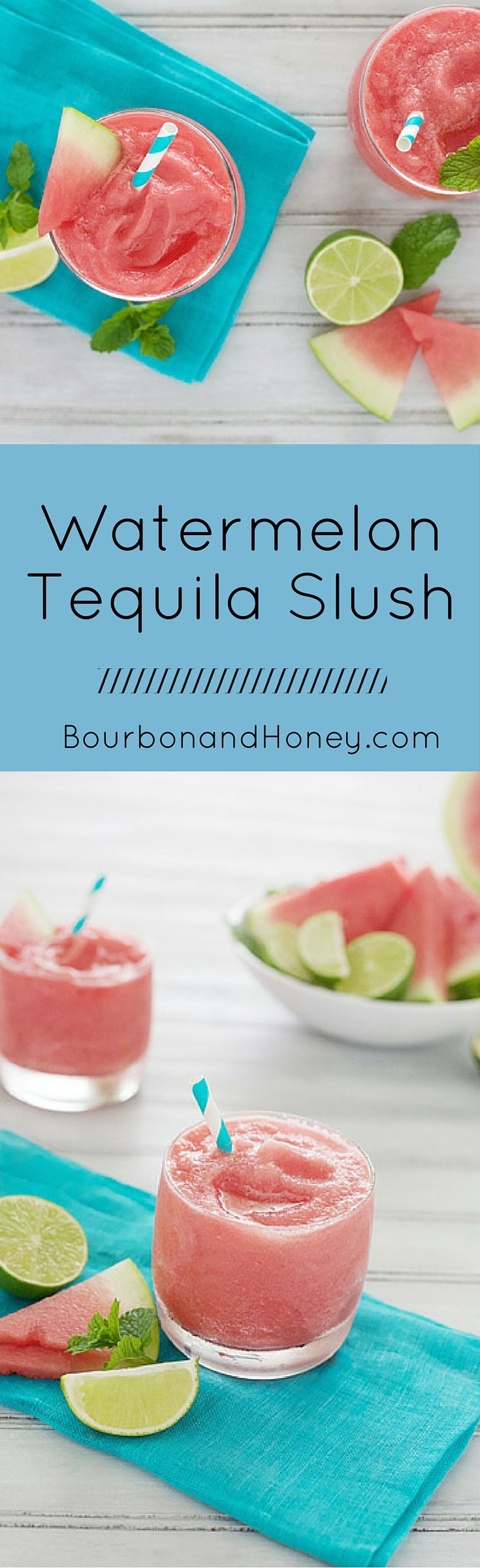 Watermelon Tequila Slush   BourbonandHoney.com -- This pretty pink Watermelon Tequila Slush is a tasty and refreshing way to keep your cool all summer long. - Click through to read the full post or Repin to find later!
