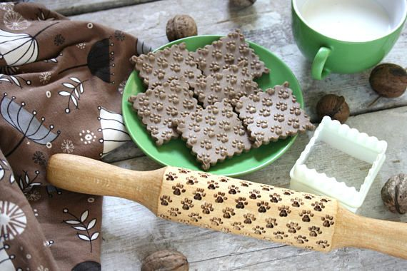Rolling Pin Footprints Mold Cookies Stamp Home Decor Kitchen