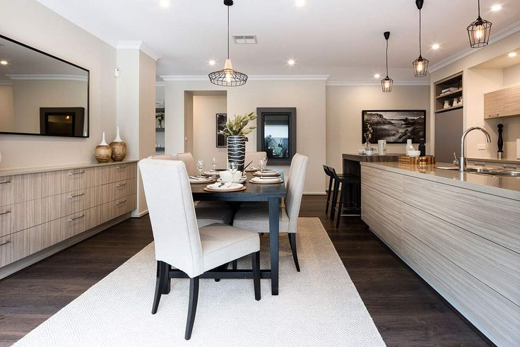 Enjoy modern, family lifestyles in this exquisite dining space. #weeksbuildinggroup #homedesign #interiordesign #newhome