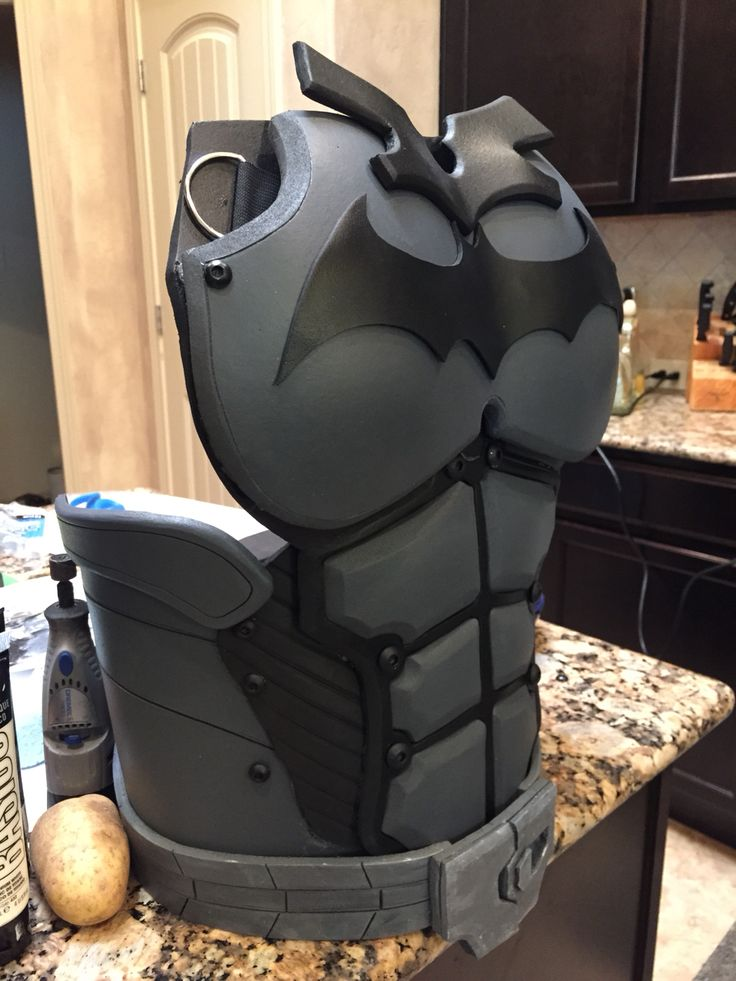 Side view work in progress on my Arkham Origins costume Batman Arkham Origins homemade costume cosplay DIY eva foam