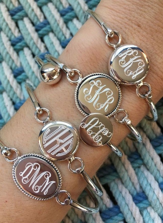 Heirloom quality engraving  https://www.swellcaroline.com/monogram-jewelry/monogram-bracelets-and-cuff-bracelets.html You'll adore these monogrammed cuff bracelets.  Our craftsmen can engrave the backside of most of our sterling silver bracelets with a custom message to help create the most special gift.