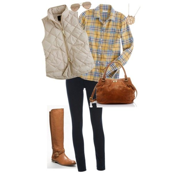 fall outfit: plaid, vest and boots