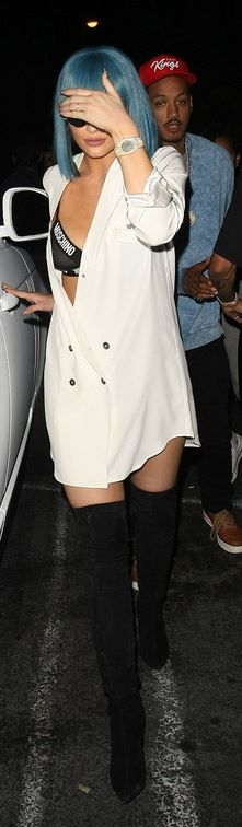Kylie Jenner: Dress – Stone Cold Fox  Bra – Moschino  Shoes – Sergio Rossi  Bracelet – Cartier