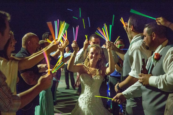 Great Wedding exit with glow sticks at this Gulfport Casino Wedding.  Sandhill Photography, wedding photography