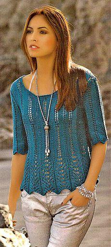 Пуловер с ажурными полосками. Описание и схема.  