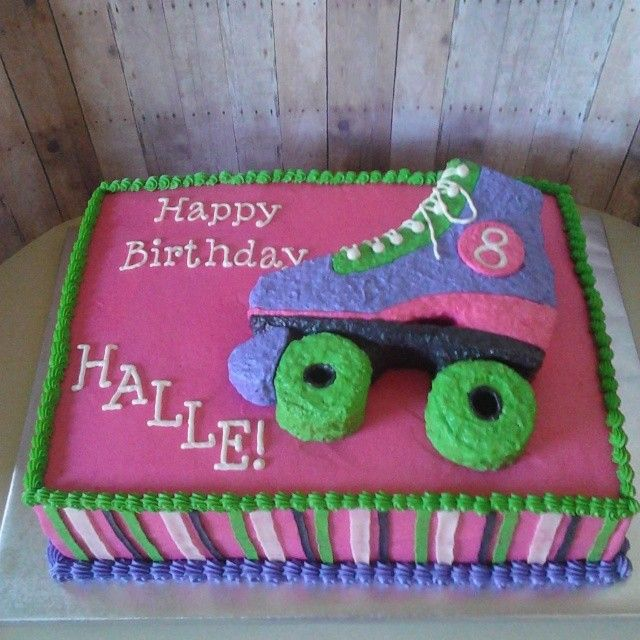 An '80's themed roller skate cake for a sweet little 8 year old!  #melissabscakes #rollerskatecake #birthdaycake #1980sthemebirthday