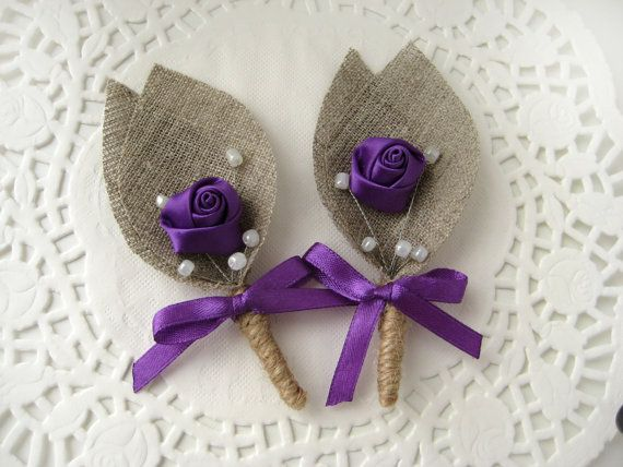 Set Of 4 Purple Flower Burlap Boutonniere By BrightBride On Etsy