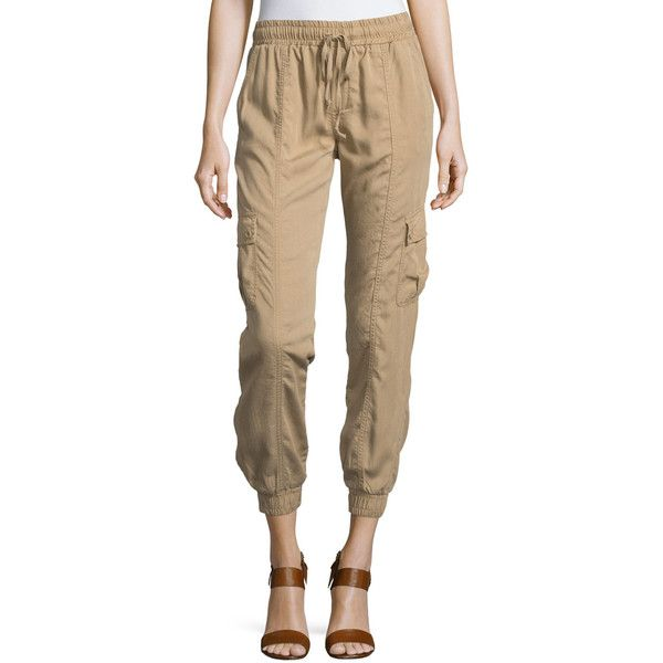 Neiman Marcus Drawstring Jogger Pants W/Pockets ($39) ❤ liked on Polyvore featuring pants, brown, elastic pants, drawstring jogger pants, tencel pants, relaxed pants and brown pants
