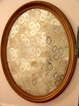 lace mirror. clean mirror with rubbing alcohol. cover/secure with lace window panel as a stencil. spray light coat of white spray paint. wait 15 minutes and spray another light coat if wanted. gorgeous!
