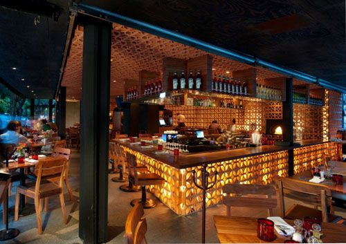 Love the bar lighting (Classic Italian Restaurant Interior Design by CheremSerrano)