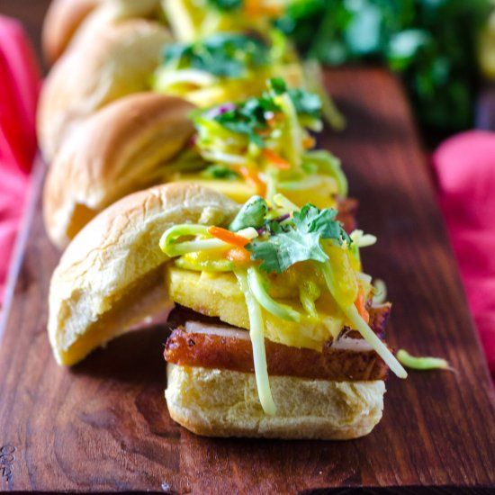 Blackened Pork Belly Sandwiches with Pineapple Mango Slaw