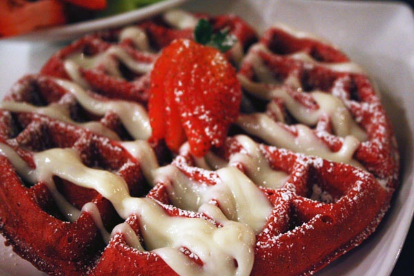 Just add red food color to my exisiting GF waffle recipe!  Use blueberries for Red, White, Blue! red velvet waffles.make allergy friendly & for special occassion.  http://www.food.com/recipe/red-velvet-waffles-411621