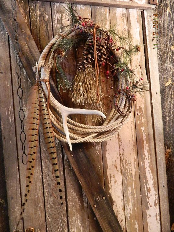 Western Cowboy Rodeo Farm Christmas Holiday Wreath by dakotagypsy