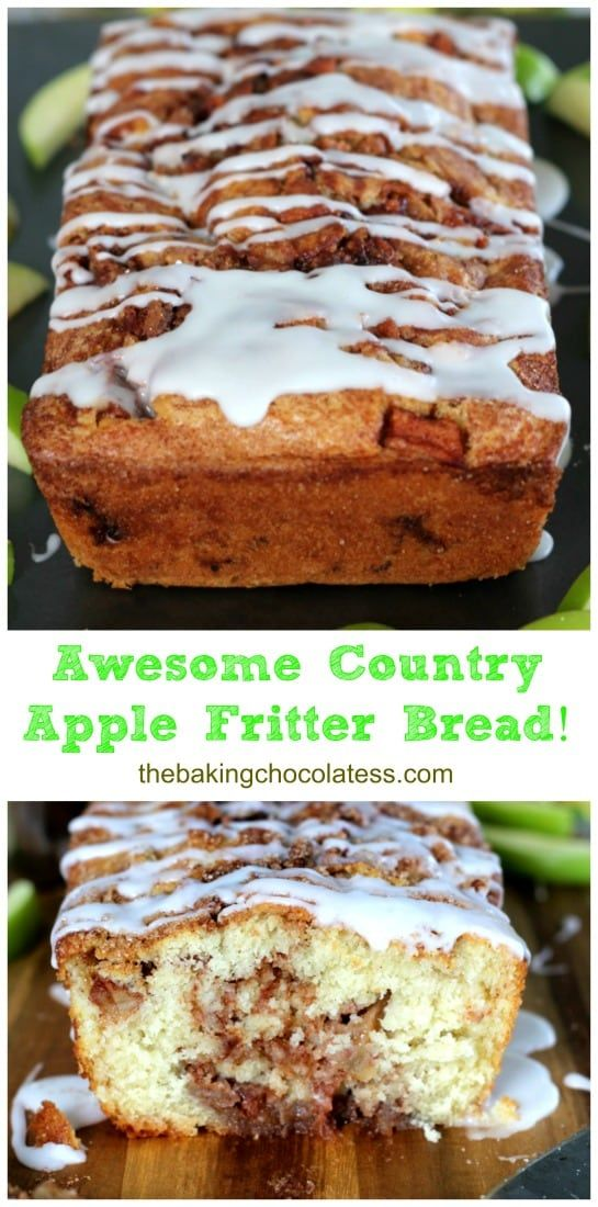 Awesome Country Apple Fritter Bread Recipe - Fluffy, buttery, white cake loaf loaded with chunks of apples and layers of brown sugar and cinnamon swirled inside and on top. Simply Irresistible!