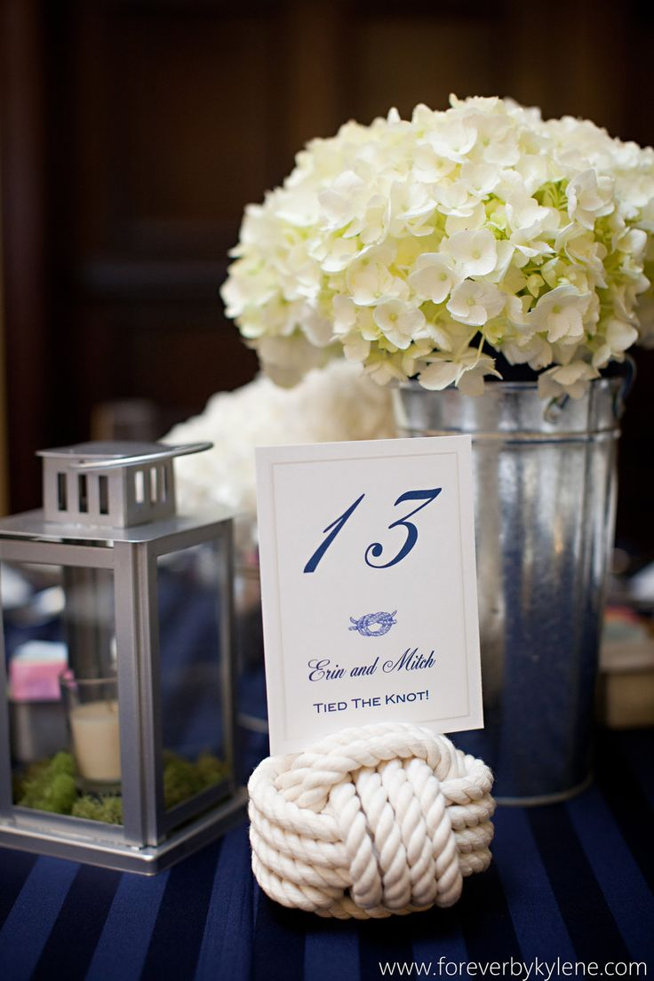 6 Nautical Rope Table Number Holders - Set of 6 wedding knots. $60.00, via Etsy.