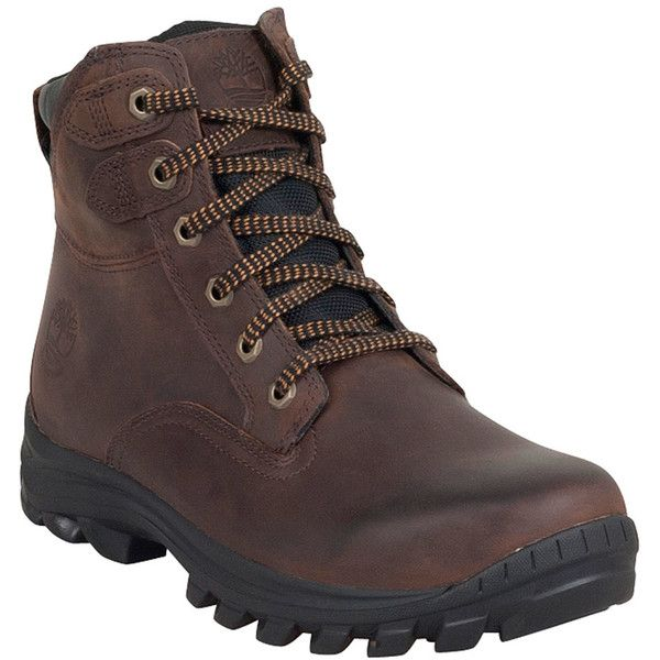 Timberland Men's Chillberg Mid Waterproof Boot ($130) ❤ liked on Polyvore featuring men's fashion, men's shoes, men's boots, men's work boots and brown