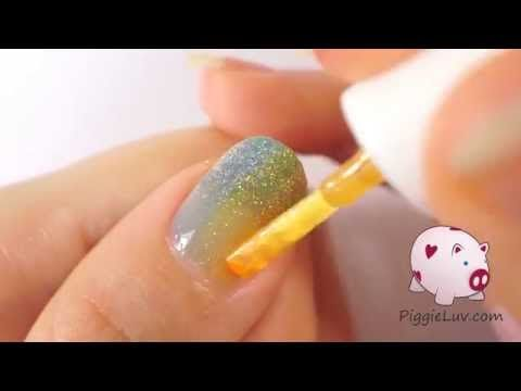 Double gradient glitter rainbow nail art tutorial - YouTube
