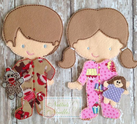 Nighty Night Felt Un Paper Doll Pajamas and by NettiesNeedlesToo, $6.00