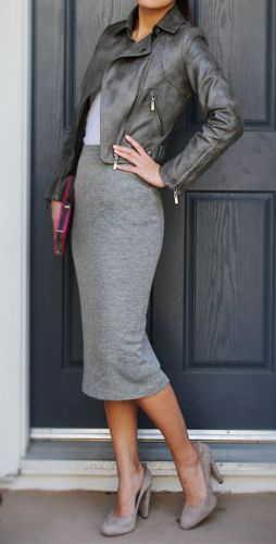 Grey pencil skirt, grey leather jacket.
