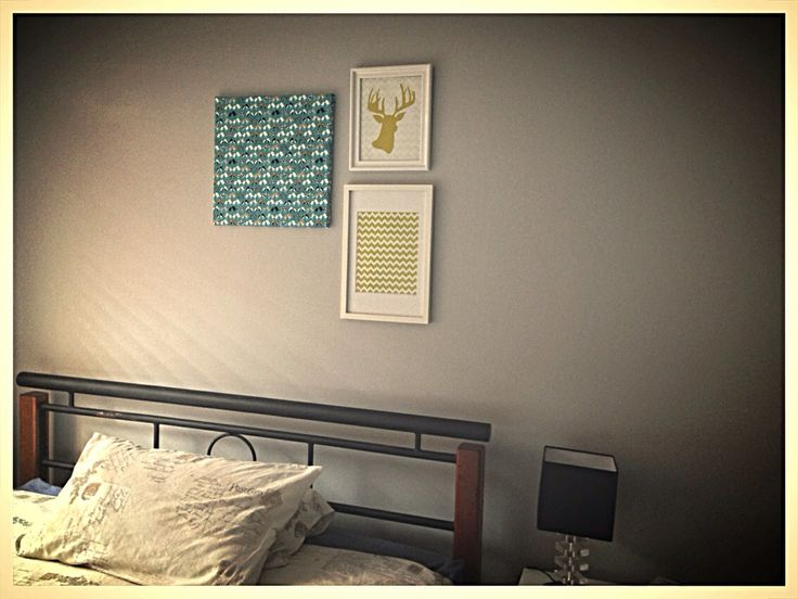 Guest bedroom wall collage! #yellow #turquoise  #staghead #birdies #fabric #photoprints #notsoboringanymore