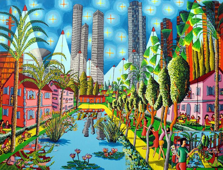 naive paintings raphael perez pinterest - חיפוש ב-Google (make up an environment in one pt. and use lavish colors & patterns)