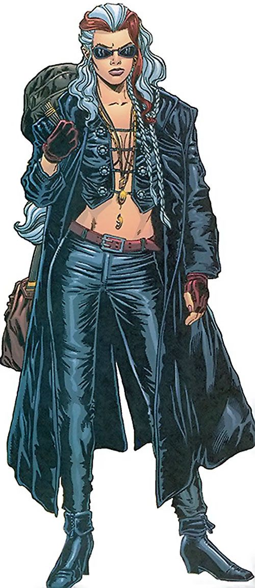 Songbird of the Thunderbolts (Marvel Comics) in black leather and shades