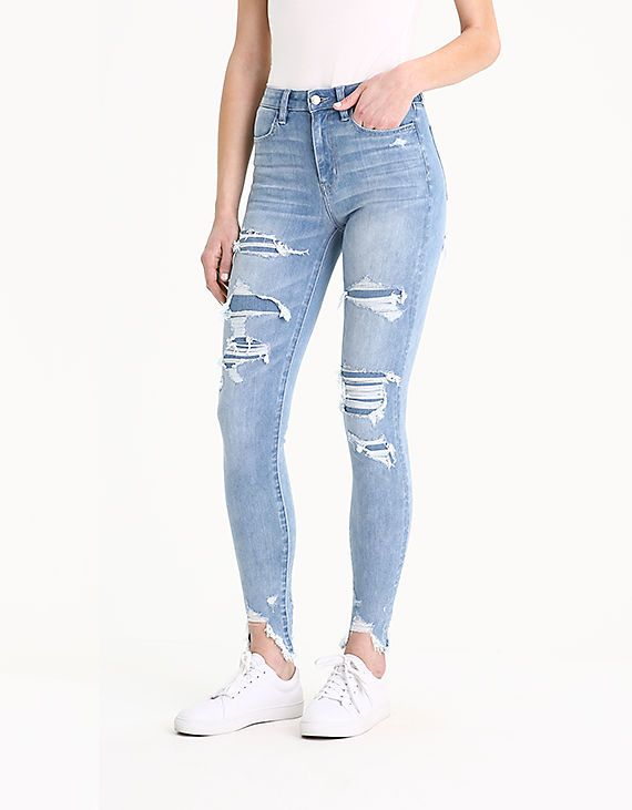 4daae9fc AE 360 Ne(X)t Level Super High-Waisted Jegging, Icy Repair   w i s h l i s  t   Lightweight jeans, Jeggings, Jeans
