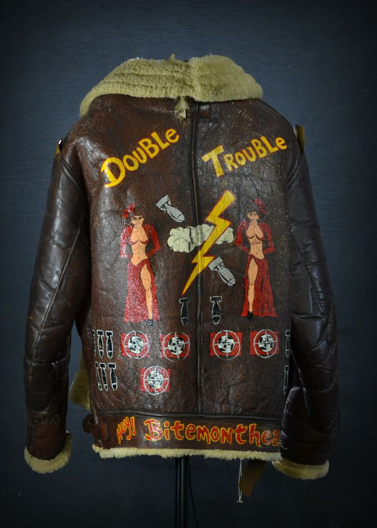 "carlosavo:  WWII bomber jacket from the crew of the ""Double Trouble"".  Part of the upcoming  March 29th militaria auction at Savo Auctioneers LLC. Photo by Carlo Savo."