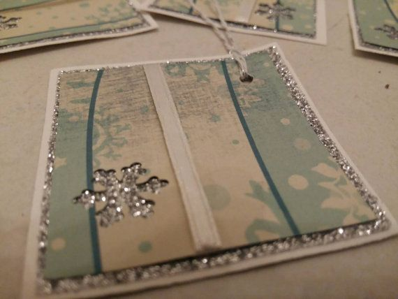 Set of 4 Cristmas gift tags silver and by Dancingunderarainbow