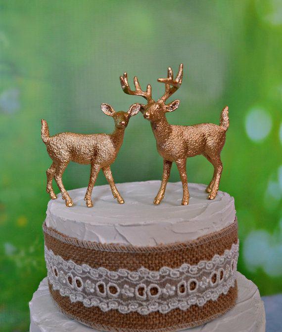gold deer wedding cake toppers bride groom fall autumn silver white buck doe deer themed wedding woodland nature deer hunting groom's cake