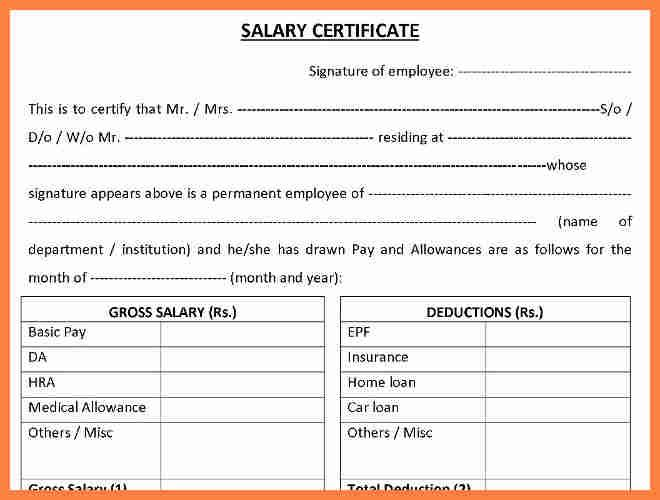 8 Salary Certificate Letter Format Word Salary Slip