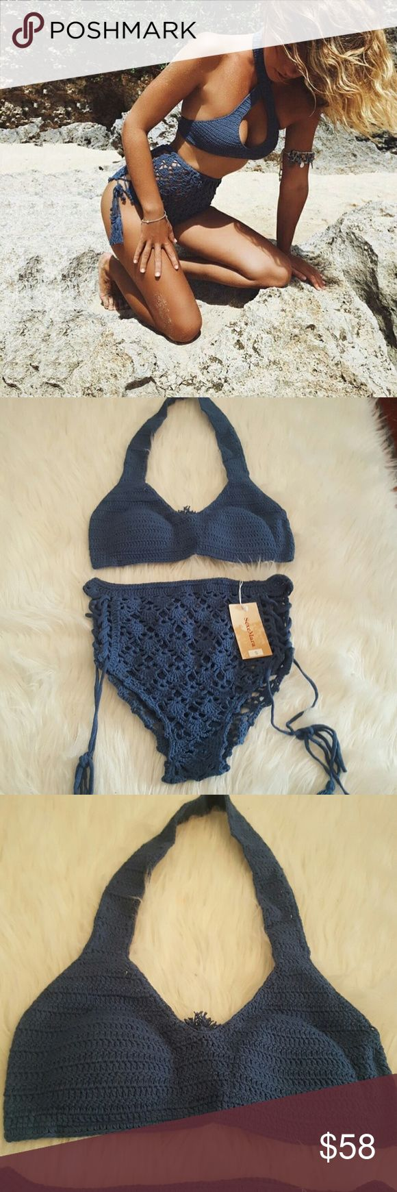 New Blue Crochet High-Waisted Bikini Brand New! Bottoms have tags, no tags for top but it is New! Size small however both top and bottoms are adjustable! Top is padded (removable) NOTE* As you can see the bottoms are crochet and not fully covered. Meaning there are holes everywhereeeee! But rest assured that wearing blue or black panties or swimsuit bottoms underneath works perfectly and this bikini is super unique and cute!  Offers welcome! Swim Bikinis