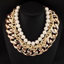 Мода жемчуг ожерелья для женщин 2015 Exaggerated бусины коренастый золотые цепи биб воротник чокеры себе ожерелья CE776(China (Mainland))
