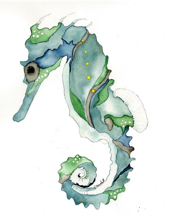 Watercolor print of blue and green seahorse from original painting nautical art 5x7