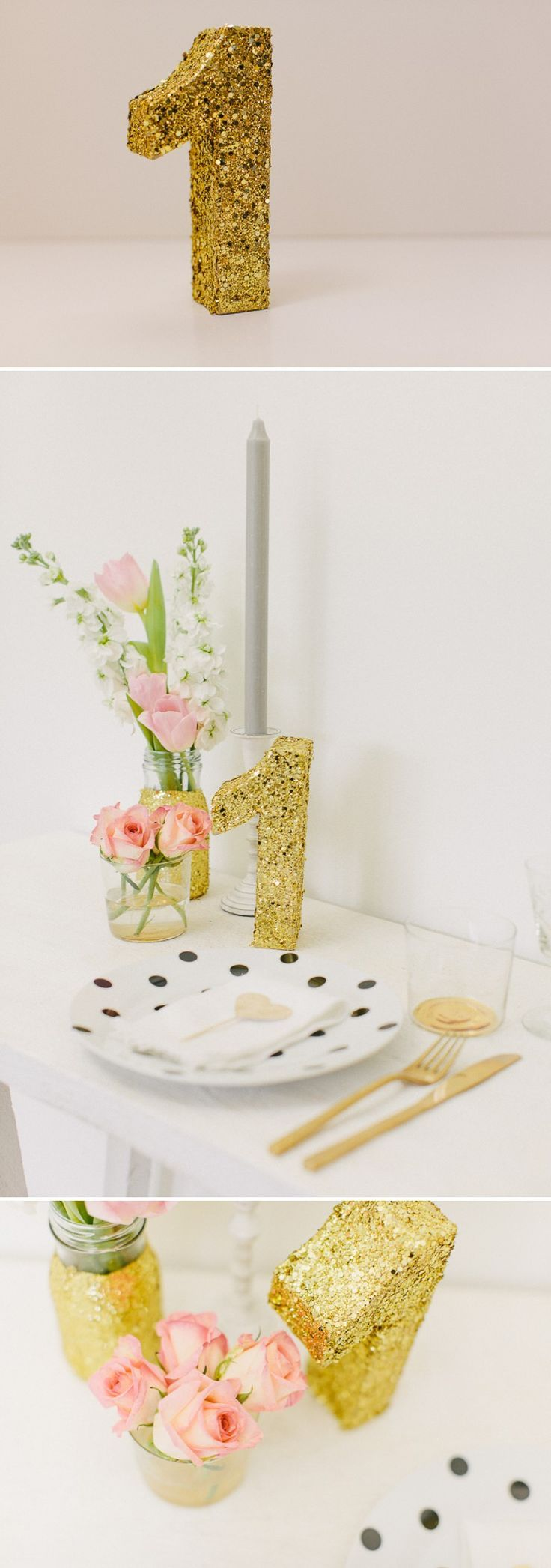 How to create a golden glittery table number for your wedding table settings and table plans._0005