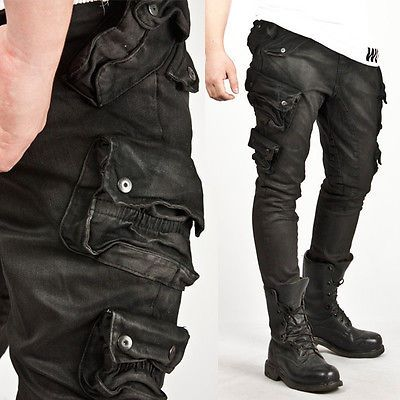 New Mens Fashion Stylish Wax Coated Dark Clouds Washing Skinny Cargo Jeans Pants