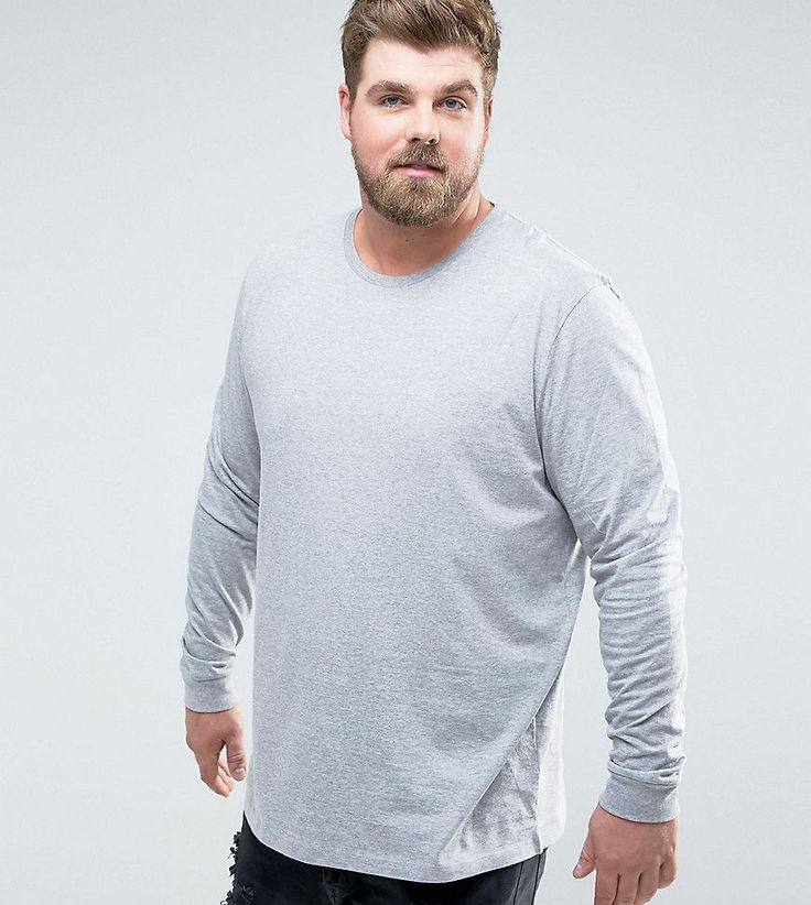 ASOS PLUS Longline Long Sleeve T-Shirt With Crew Neck - Gray
