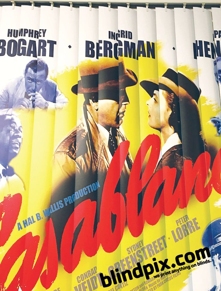 Client wanted Casablanca themed blinds for windows in home game room / bar.
