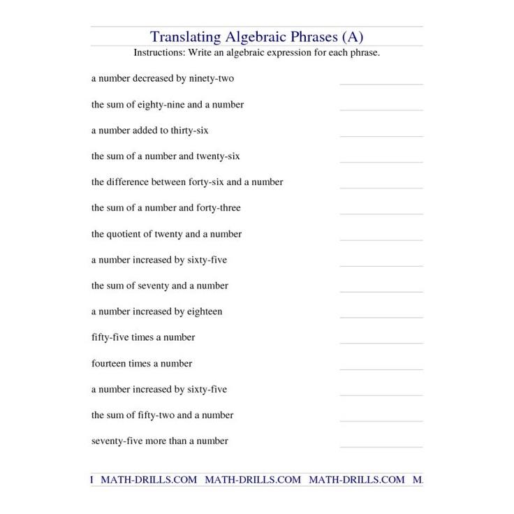 Translating Algebraic Phrases A Algebra Worksheet Translating Algebraic Expressions Algebraic Expressions Writing Algebraic Expressions