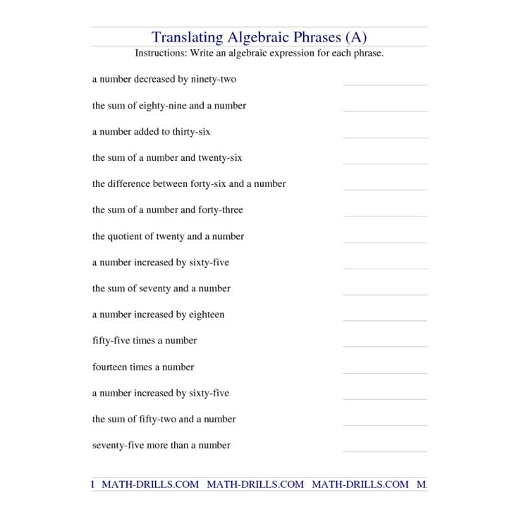 Printables Translating Algebraic Expressions Worksheet 1000 images about math algebra equations on pinterest worksheet translating algebraic phrases a